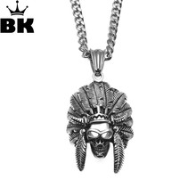 039ae818b57d Cabeza Jefe Indio Nativo Americano del cráneo Haida colgante collar de acero  inoxidable cráneo hombres mujeres jefe H