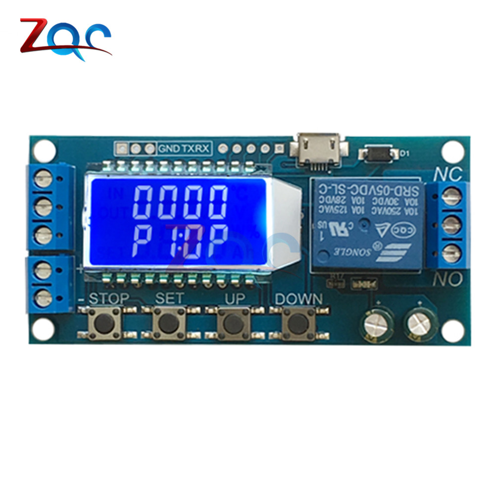Micro USB Digital LCD Display Time Delay Relay Module DC 6-30V Control Multifunction Timer Switch Trigger Cycle Module Board