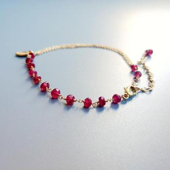 Red Ruby Bracelet 925 Sterling Silver 18K Gold Plated 3