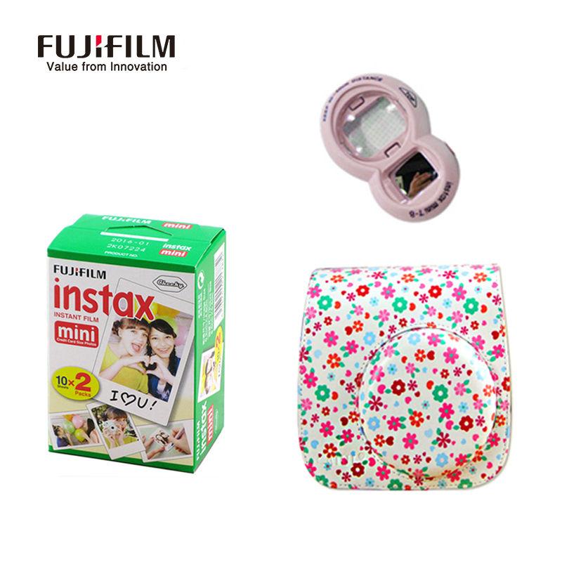 Prix pour Fuji fujifilm instax mini 8 film 20 feuilles + en cuir caméra Sac Bandoulière Protéger Cas + Close-up Lens Auto-Portrait miroir