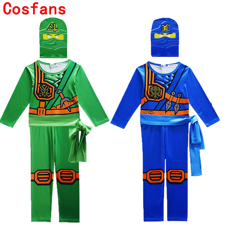 Ninjago Party Cosplay Costumes LEGO Boys Jumpsuits Sets For kids Halloween Christmas Clothes Ninja Superhero Streetwear Suits