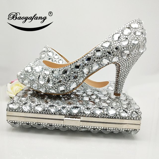 Buy Silver Wedding Shoes With Matching Purse