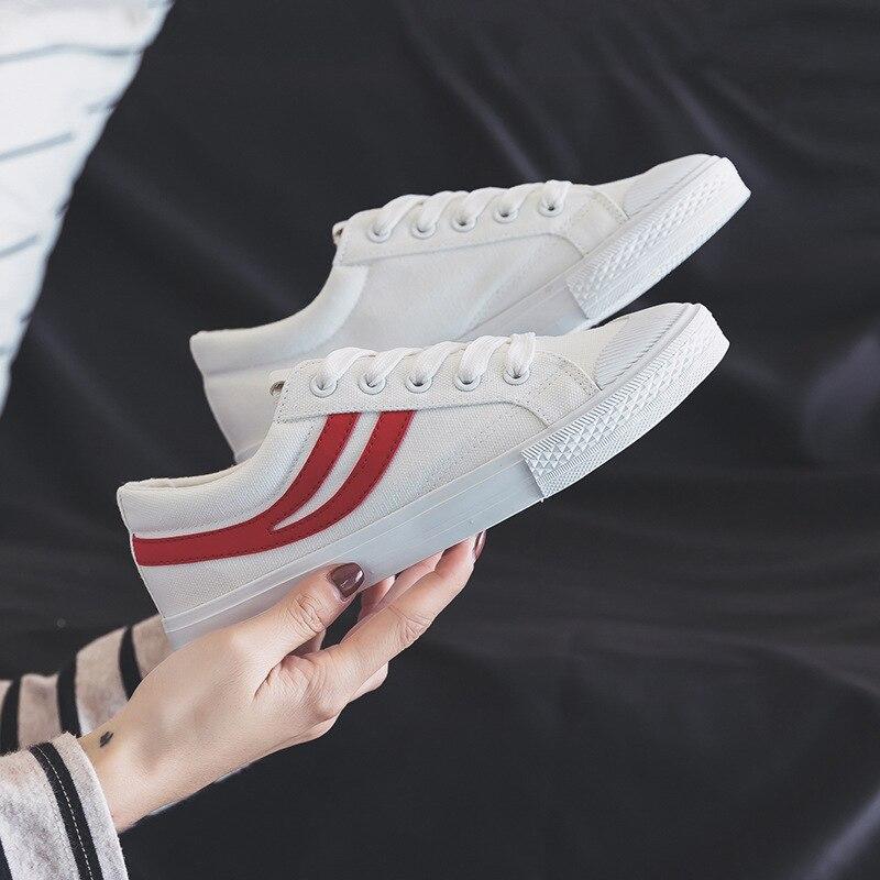 sk-cherish Canvas shoes female students Korean version of Harajuku shoes 2019 spring new wild flat white shoes off white tm will zapatillas de moda 2019 hombre