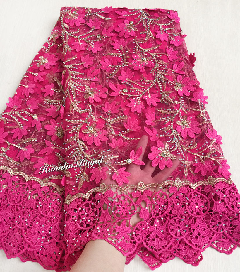 Rose gold high grade tulle lace African French fabric with embroidery cord lace borders lasher diamonds