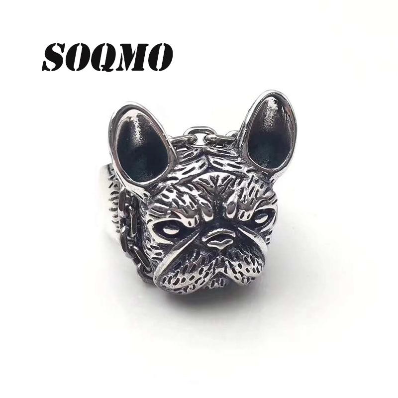 SOQMO 2018 hommes anneau d'ouverture 100% réel 925 bijoux en argent sterling Vintage Animal chien cadeau de noël anneau réglable hommes bijoux