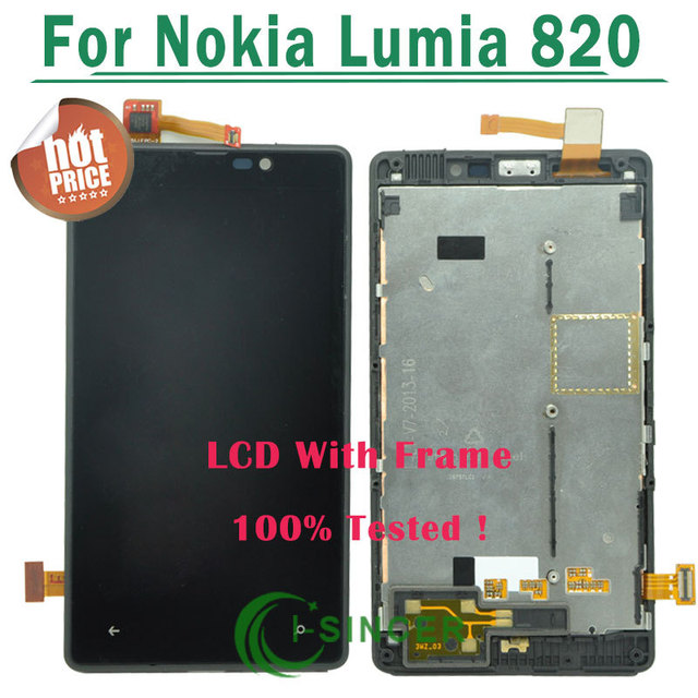 1/PCS Black frame For Nokia Lumia 820 LCD Display Screen Touch Digitizer With Frame Assembly Replacement Free shipping