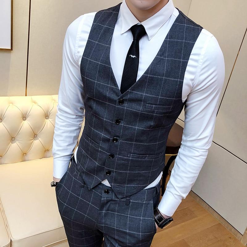 Fashion Brands Men's Suit Vests Business Wedding Dresses Tops Men Slim Fit Male Casual Grid Waistcoat Size S-4XL