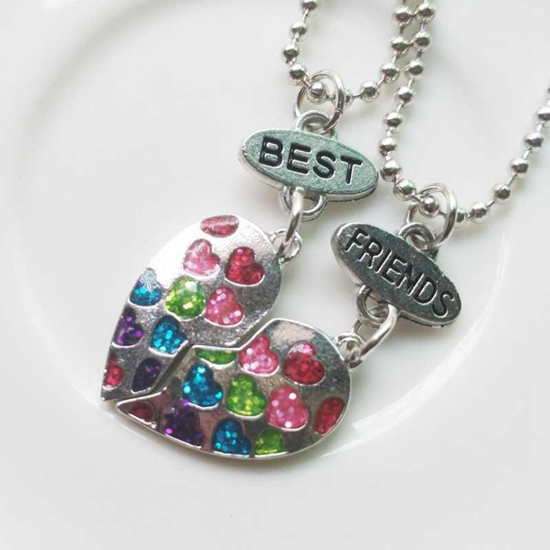 2 pcs Best Friends Pendant Necklaces Heart Shape BFF necklaces Rhinestone Gold Silver Half Half Gift For Friends Jewelry