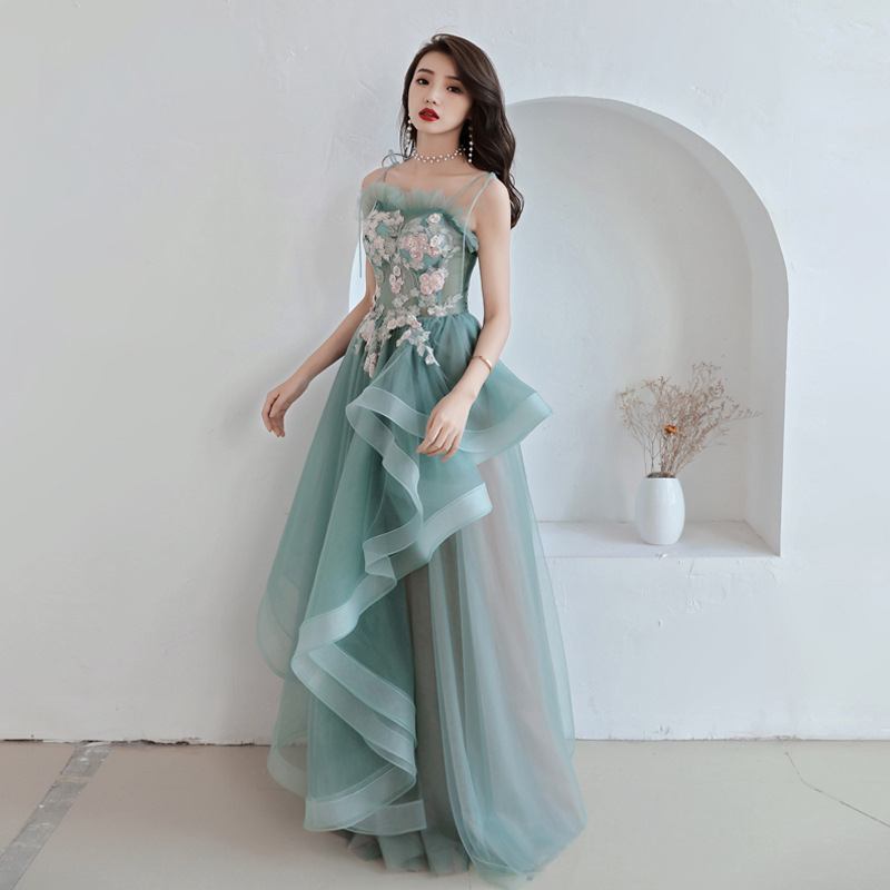 Green Backless Long Stage Show Cheongsam Dress Vestidos Chinos Oriental Qipao Evening Gowns Classic Party Dress Size XS-XXL