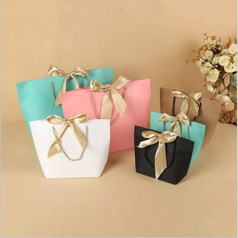 10pcs Whole Black Gift Bags With Handles Small Paper Ping Pink Bag