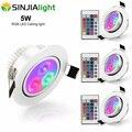 4 шт./лот 5 Вт RGB светодиодные светильники потолочные светильники встраиваемые прожекторы с RGB контроллером лампада светодиодные лампы для с...