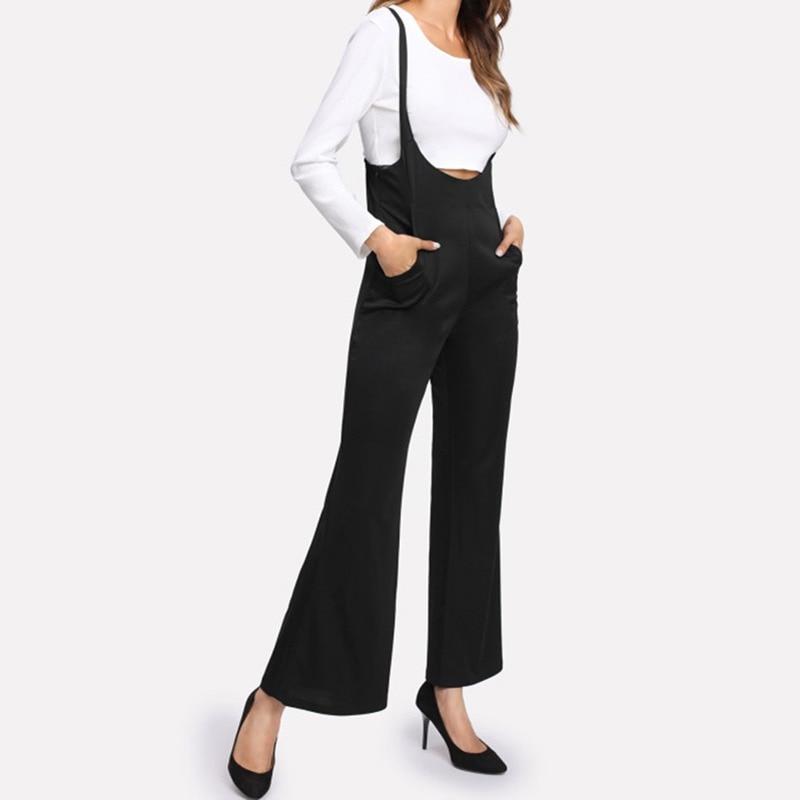 Women Overall Pants High Waist Long Wide Leg Jumpsuit Fashion Women Ropmer
