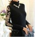 Inverno de VELUDO Quente Blusa para As Mulheres 2016 Novas Blusas de Lã de Gola Alta Plus Size Mulher Camisa Escritório Workwear Top Preto, Red M ~ 3XL