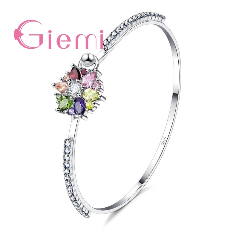 GIEMI Fashion Silver Jewelry With 925 Stamp For Women Bridal Luxury Bracelet Charm Engagement Bangles Shiny CZ Bracelet