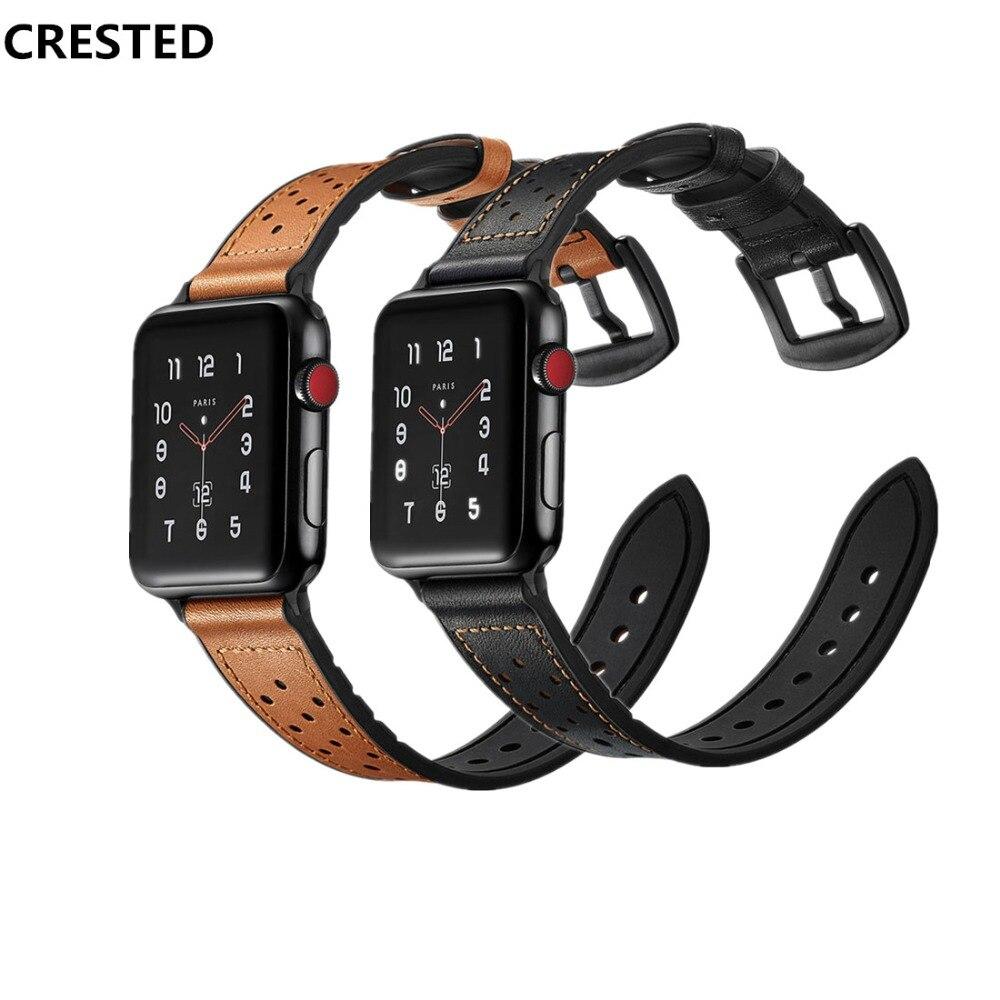 AIGRETTES Véritable bracelet En Cuir pour Apple montre bande 42mm/38mm silicone Iwatch série 3/2/1 rétro poignet bracelet ceinture bracelet