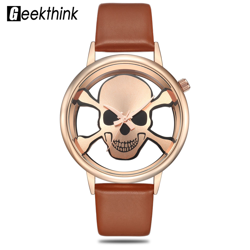 GEEKTHINK Fashion Brand Watches Women Skull Analog Hollow Wrist Watch Punk fashion ladies Casual clock Female Girls Quartz women with silicone watches fashion women round dial quartz analog wrist watch casual coloful design girls gift branded ladies page page 3