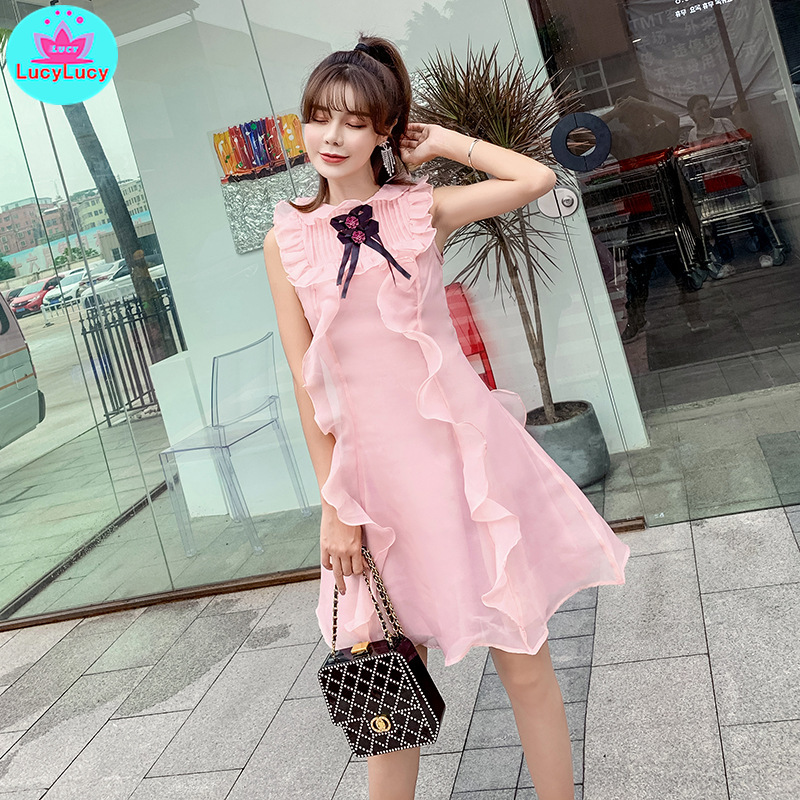 2019 Summer Women's Korean Version Of The Pink Sleeveless Bow Stitching Ruffled Slim Dress Zippers Tank Knee-Length