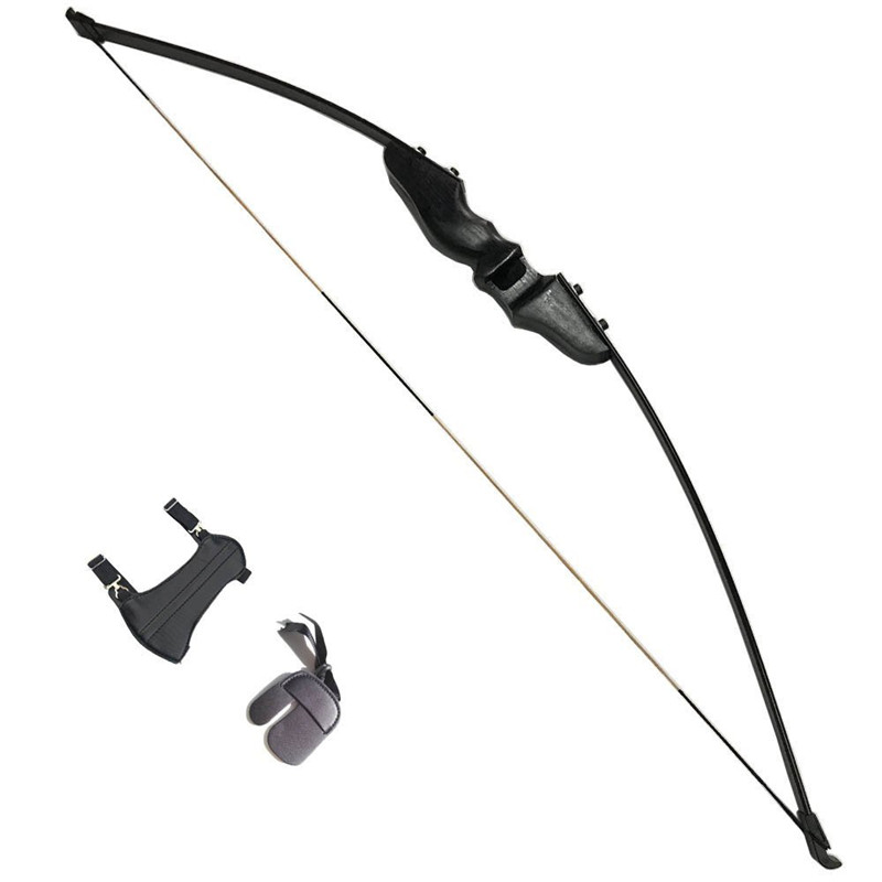 30-40lbs Archery Recurve Takedown Bow Hunting Straight Bow With Finger Guard Arm Guard Black Youth Adult Beginning Bow 54 youth bow