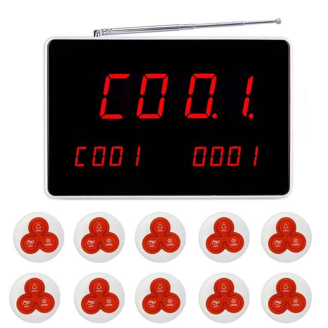 Informe de Voz inalámbrico Sistema de Llamada Del Restaurante De Paginación Del Sistema Con 1 Receptor + 10 Botón de Llamada F4496B Anfitrión + 10 unids F4413B