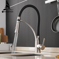 Kitchen Mixer Led Light Sink Faucet Brass Brushed Nickel Torneira Tap Kitchen Faucets Hot Cold Deck Mounted Bath Mixer Tap 7661