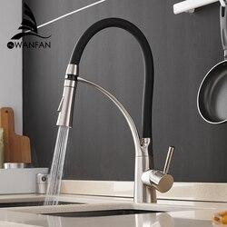 Keuken Mixer LED Licht Sink Kraan Messing Geborsteld Nikkel Torneira Tap Keukenmengkranen Hot Koud Badrandcombinaties Bad Mengkraan 7661