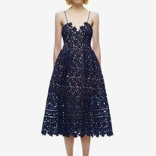 Летнее платье Автопортрет Для женщин сексуальный глубокий V образный вырез ремень кружевное платье с открытой спиной с пышной юбкой с вязаными вставками с цветочным принтом длинное платье