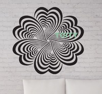 Wall Stickers Vinyl Decal Drawing Elements Flower Optical Illusion Decor Graphic Home Room Art Mural H58cm