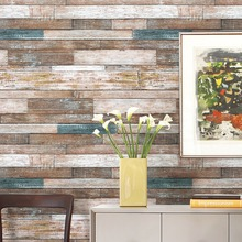 "HaokHome Vintage Wood Wallpaper Rolls Blue/Beige/Brown Wooden Plank Mural Home Kitchen Bathroom Photo Wall Paper 20.8"" x 393.7"""
