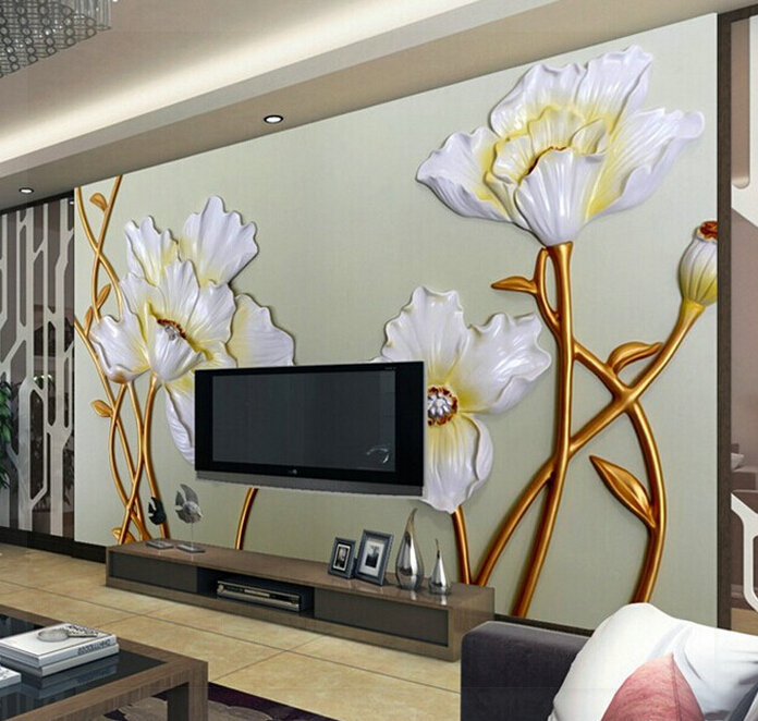 ... Custom Any Size 3D Wall Mural Wallpaper, 2015 New Modern Fashion Lotus  Relief Wallpaper 3d Part 17
