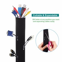 Cable Management Sleeves Cord Organizer for TV, Computer and Electronics Wires, Black and White Reversible (10ft)