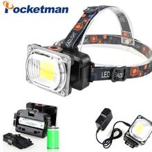 Power COB LED Headlight Headlamp DC Rechargeable Head Lamp Torch 3-Mode 18650 Battery Waterproof Hunting Fishing Lighting