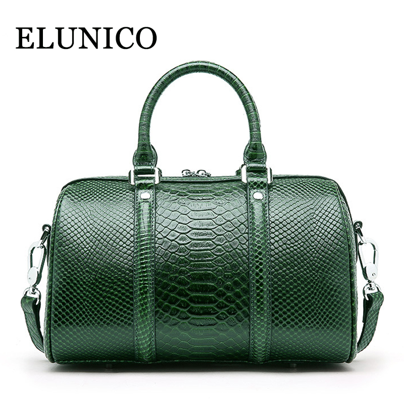 ELUNICO Brand Genuine Leather Bags for Women Boston Serpentine Tote Bag Female Handbags Fashion Shoulder Bags Messenger Bags soft cowhide genuine leather women shoulder bags fashion handbags simple european style boston messenger bag pillow female packs