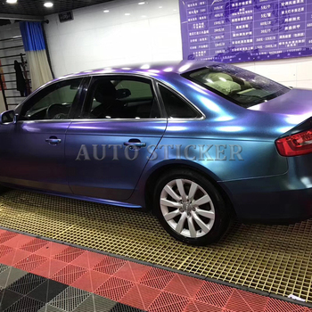 Blue To Purple Pearl Satin Chameleon Car Vinyl Wrap With Air Bubble Free Car Vehicle Styling Covering Foil Size 1.52x20m/Roll
