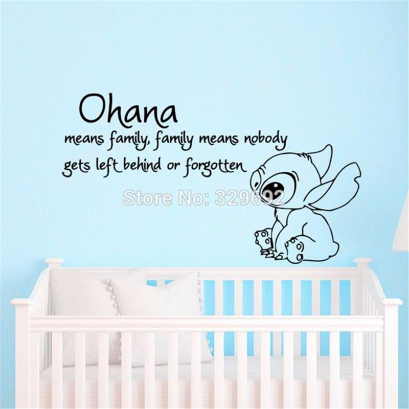 Lilo and Stitch Quote Ohana Means Family Means Cartoon Vinyl Wall Decal Sticker Art Children Bedroom Nursery Home Decor 56x100cm-in Wall Stickers from Home ...  sc 1 st  AliExpress.com & Lilo and Stitch Quote Ohana Means Family Means Cartoon Vinyl Wall ...