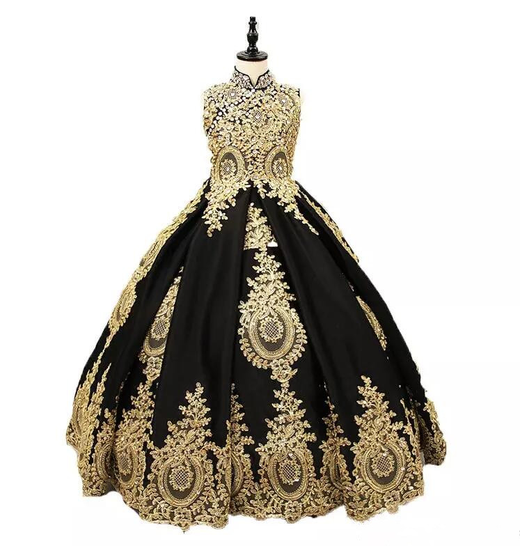 New Black And Gold Lace Flower Girls Dresses High neck With Corset Back Ball Gown Designer Pageant Gown Girls Birthday Dresses