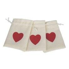 12pcs Linen Pouches Heart Pattern Drawstring Bags Wedding/Gift/Jewelry/Favor Bag