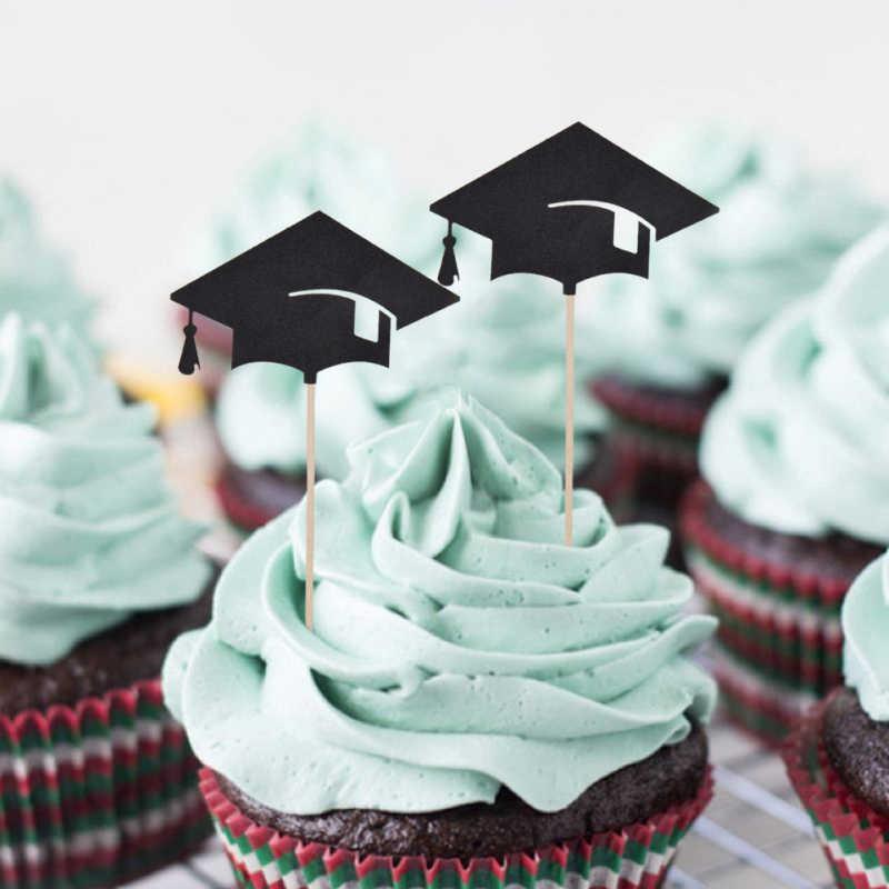 6 PCS רומן אוניברסיטת מכללת סיום טקס ראשון כובע רופא כובע עוגה לקשט דגל Cupcake קישוטים