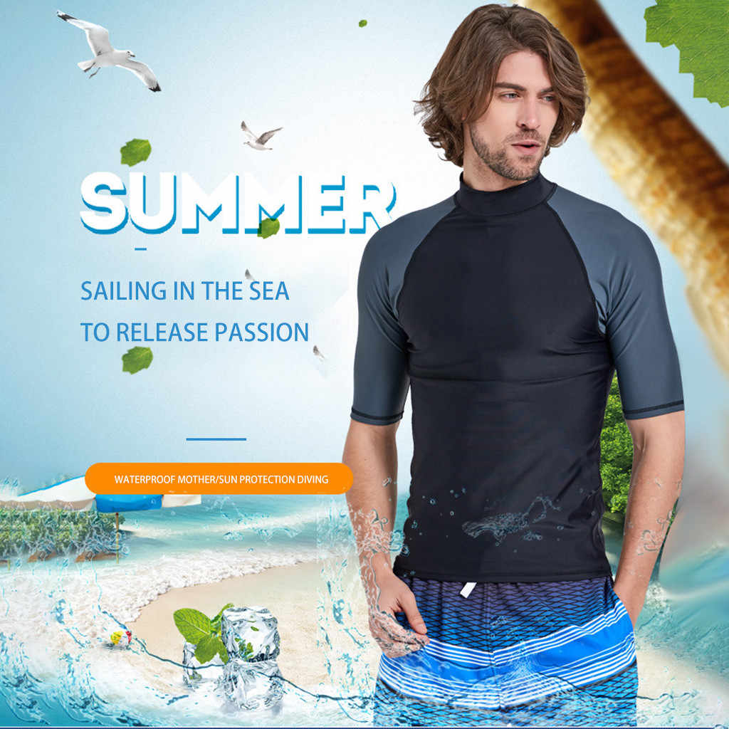 2019 yeni yüksek kaliteli erkek Anti-UV mayo dalış yüzme sörf dalış kısa kollu tayt dalış sörf kıyafeti