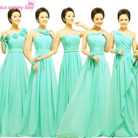 brides maid sexy semi formal turquoise green bridesmaid brides maids formal bridesmaids' dresses women of the bride dress B1127