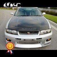 Carro Styling Frente De Fibra De Carbono Capa Bonnet Capa Fit For 1995 1998 Skyline GTR OEM Estilo R33 Capô capô|Capuzes| |  -