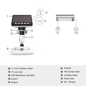 Image 5 - Microscopio Digital con 8 luces LCD, 4,3x1080 pulgadas, HD P, Lupa Electrónica para soldar de escritorio, compatible con 10 idiomas