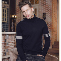 Hot Sale 2018 Spring New Men'S Sweater Fashion Casual High Necked Sweater High Quality Brand Clothing Cotton Sweater CD50