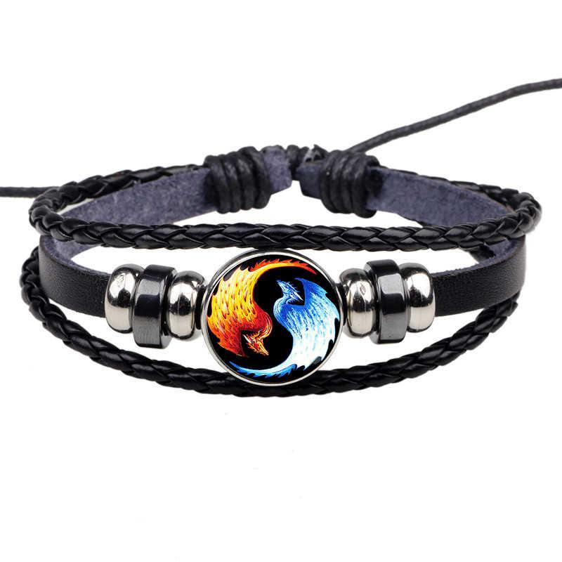 Yin Yang Tai Chi liny bransoletka czarny i biały pleciona bransoletka skórzane bransoletki dla kobiet mężczyzn prezenty