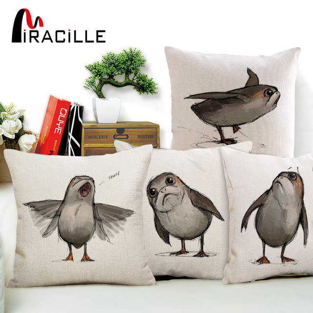 Fabulous Us 3 49 30 Off Aliexpress Com Buy Miracille Porg Cushion Cover Cotton Linen Star Wars Digital Printed Home Decorative Sofa Throw Pillow Case For Creativecarmelina Interior Chair Design Creativecarmelinacom