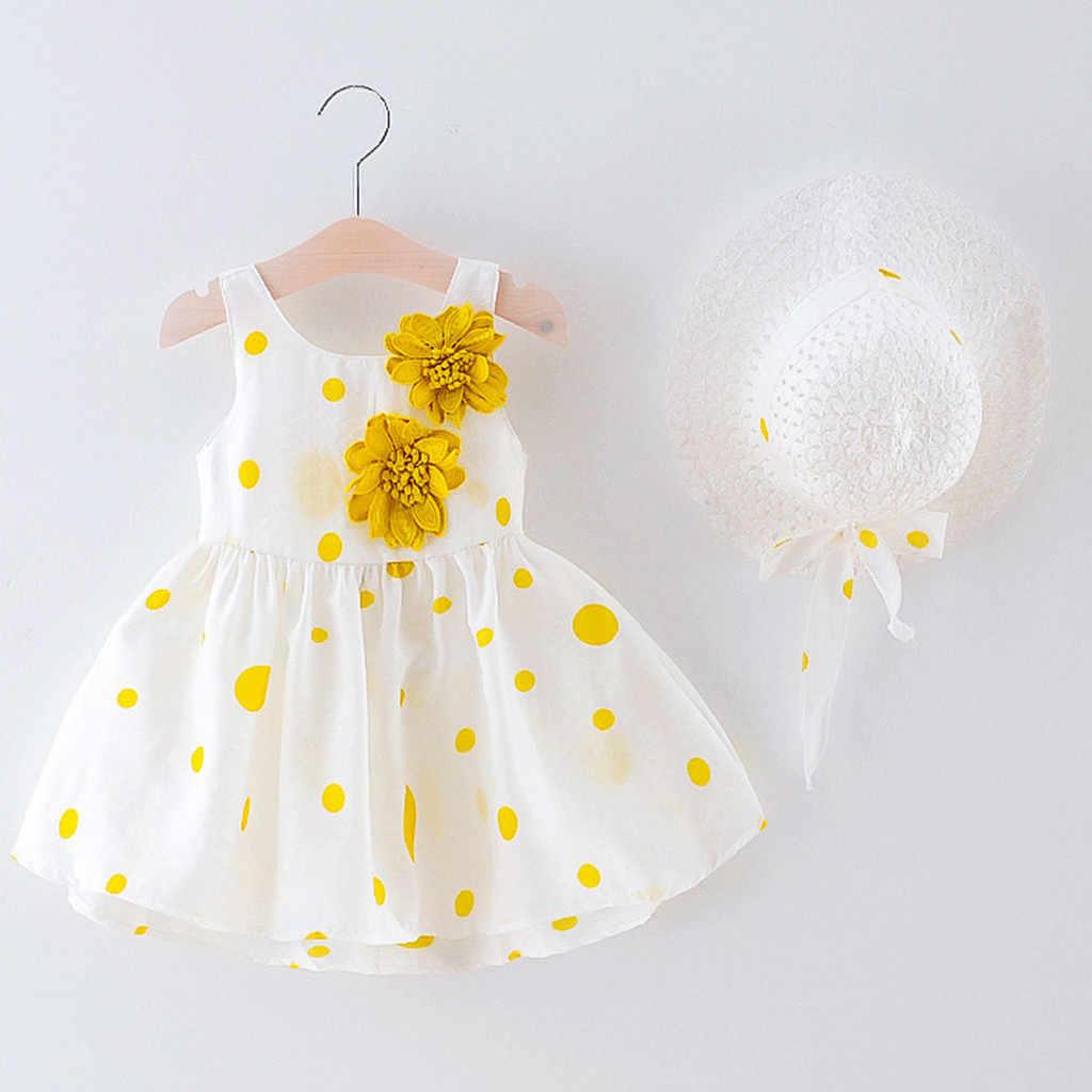 幼児の子供の女の花プリンセスドレス + 帽子キャップ服衣装の女の子夏服 baju 八一 perempuan