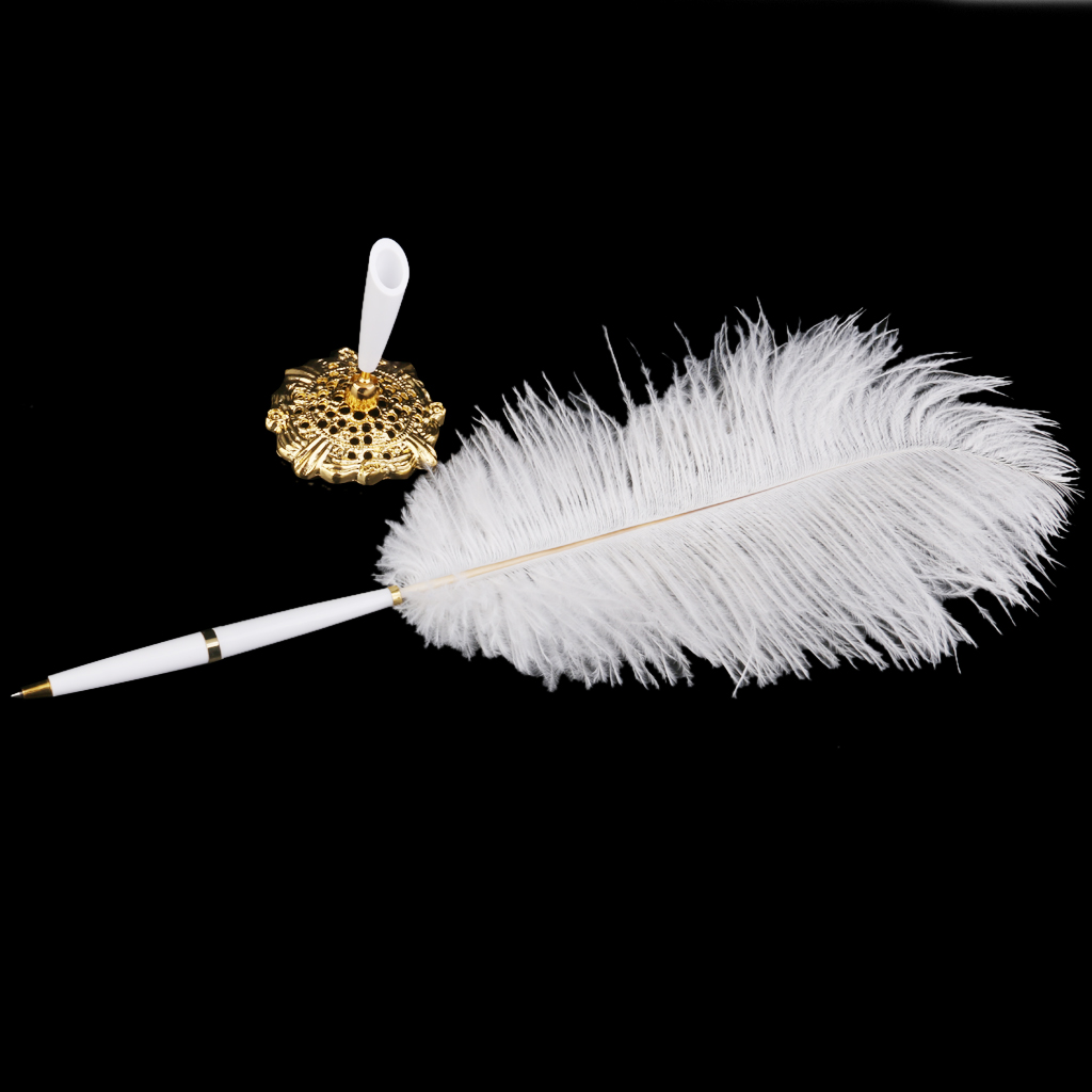 Ostrich Feather Quill Signing Pen with Metal Holder Wedding Pen Set Stand White Party Wedding Favors Supplies Wedding Decoration
