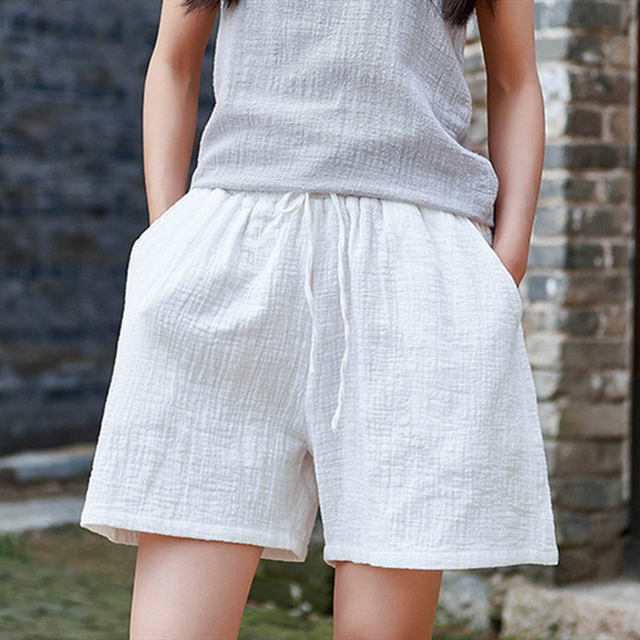 Johnature New Style Casual Cotton Linen Women Shorts 2021 Summer New Solid Elastic Waist Women Shorts Wide Leg Shorts 3