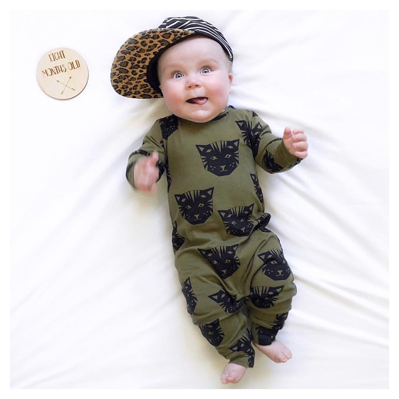TinyPeople Black cat Infant baby rompers Cotton Spring boys clothes girls cute bebe autumn Long Sleeve Jumpsuit newborn onesie