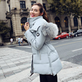 2016 grande gola de pele de algodão com capuz para baixo mulheres jaqueta de Inverno parka mulheres de slim casacos quentes e casacos