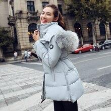 2016 большой меховой воротник капюшоном хлопка вниз Зимняя куртка женщины парка тонкий теплые куртки и пальто
